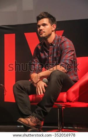 SAO PAULO, DECEMBER 6, BRAZIL, 2015: Actor Taylor Lautner during Comic Con Experience 2015 at Sao Paulo Expo. - stock photo