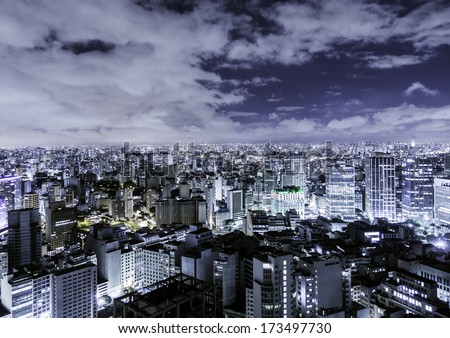 Sao Paulo in Brazil at night - stock photo