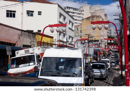 SAO PAULO - JUL 30: The Japan Town in Liberdade on July 30, 2010 in Sao Paulo, Brazil. Liberdade is the Japanese district, and the city has the largest Japanese population outside of Japan.
