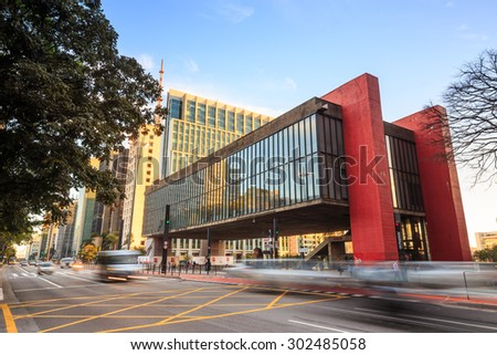 Sao Paulo - JULY 20: The Sao Paulo Museum of Art on July 20, 2015. Located on Paulista Avenue in the city of Sao Paulo, Brazil,  - stock photo