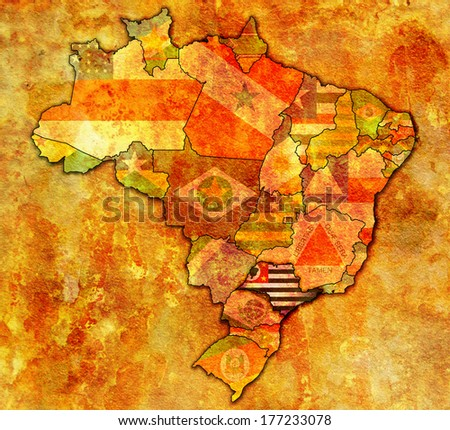 sao paulo on administration map of brazil with flags