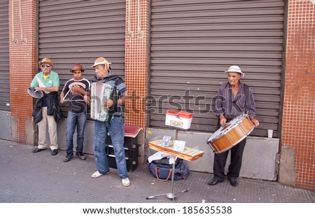 Sao Paulo - September 21: Forro musical band playing in the street of Sao Paulo- Sao Paulo, Brazil, september 21, 2013. - stock photo
