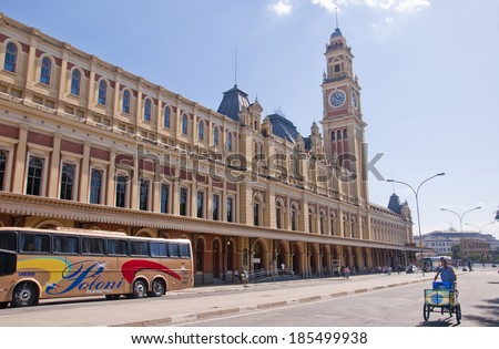 Sao Paulo - September 21: Luz Station is the common name for a railway station in the Luz neighborhood. The station is part of the metropolitan rail system - Sao Paulo, Brazil, september 21, 2013. - stock photo