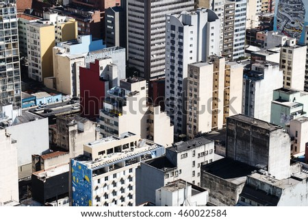 SAO PAULO, SP/BRAZIL, JULY 27, 2016: Lots of buildings in downtown area of Sao Paulo, Brazil. Background texture view.