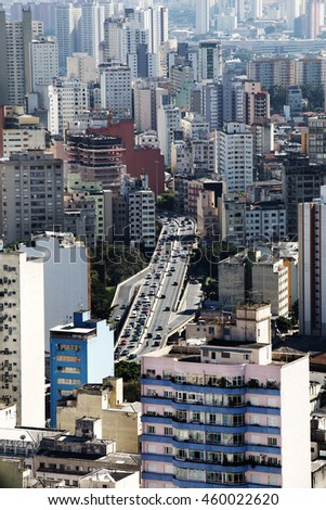 SAO PAULO, SP/BRAZIL, JULY 27, 2016: Top view from downtown area of Sao Paulo, Brazil. View of Elevado Presidente Costa e Silva (also known as Minhocao.