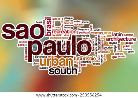 Sao Paulo word cloud concept with abstract background - stock photo
