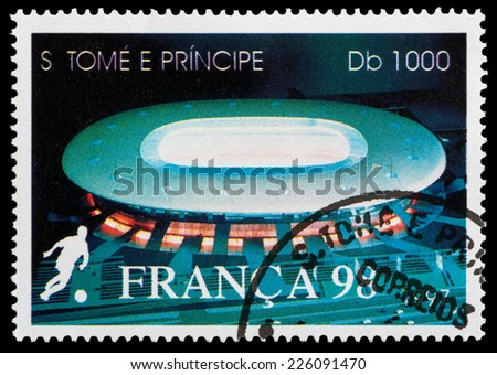 SAO TOME AND PRINCIPE - CIRCA 1998: a stamp from Sao Tome and Principe shows stadium for the World Cup in France, circa 1998 - stock photo
