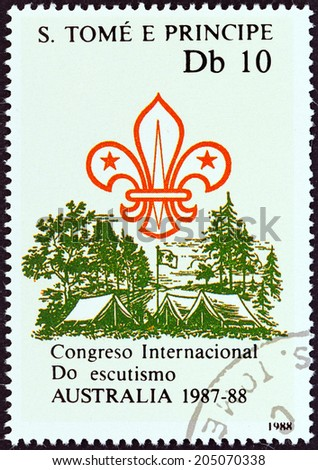 SAO TOME AND PRINCIPE - CIRCA 1988: A stamp printed in Sao Tome and Principe issued for the International Boy Scout Jamboree, Australia, 1987-88 shows Scout emblem, pitched tents, flag, circa 1988. - stock photo