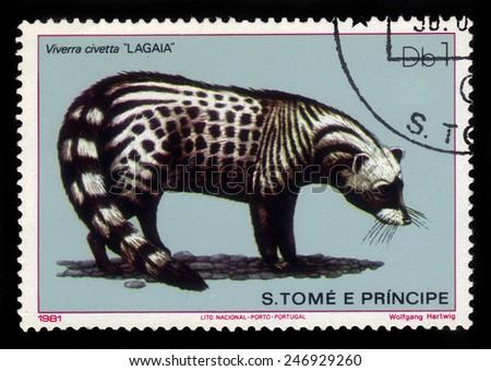 SAO TOME AND PRINCIPE - CIRCA 1981: A stamp printed in Sao Tome and Principe shows african civet (viverra civetta), circa 1981 - stock photo