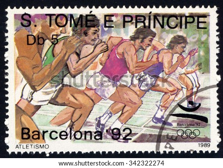 SAO TOME AND PRINCIPE - CIRCA 1989: A stamp printed in Sao Tome dedicate to Olympic Games in Barcelona 1992 shows Runners, circa 1989