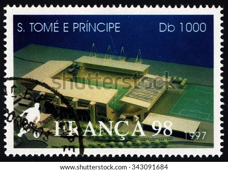 SAO TOME AND PRINCIPE - CIRCA 1997: A stamp printed in Sao Tome dedicate to World Cup Football â?? France 1998 shows Stade Geoffroy Stadium in City of Guichard, France, circa 1997