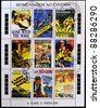 SAO TOME AND PRINCIPE - CIRCA 1995: A stamp printed in Sao Tome in homage to the movies, shows movie posters, circa 1995 - stock photo