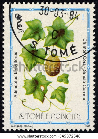 SAO TOME AND PRINCIPE - CIRCA 1983: A stamp printed in Sao Tome shows Adenoplus Breviflorus, Medical Plant series, circa 1983