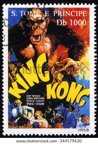 SAO TOME AND PRINCIPE - CIRCA 1995: A stamp printed in Sao Tome shows Movie Poster KING KONG, Film Poster series, circa 1995 - stock photo