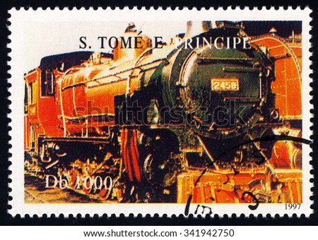 SAO TOME AND PRINCIPE - CIRCA 1997: A stamp printed in Sao Tome to commemorate 150th Anniversary of Swiss Railway shows a train, circa 1997