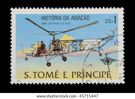 SAO TOME AND PRINCIPE - CIRCA 1979: Mail stamp printed in Africa showing the historic Sikorsky VS 300 helicopter, circa 1979