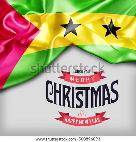 Sao Tome and Principe flag merry Christmas background