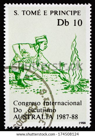 SAO TOME AND PRINIPE - CIRCA 1988: a stamp printed in Sao Tome and Principe shows Campfire, International Boy Scout Jamboree, Australia, circa 1988 - stock photo