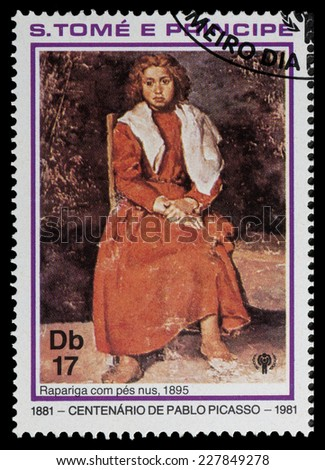 SAO TOME AND PRINIPE - CIRCA 1981: a stamp printed in Sao Tome and Principe shows girl on a chair, Painting by Pablo Picasso, circa 1981 - stock photo