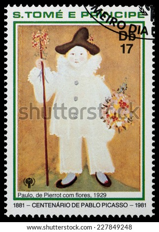 SAO TOME AND PRINIPE - CIRCA 1981: a stamp printed in Sao Tome and Principe shows Paul as Pierrot with Flowers, Painting by Pablo Picasso, circa 1981 - stock photo