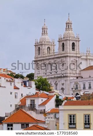 Sao Vicente de Fora Church in Alfama, Lisbon, Portugal - stock photo