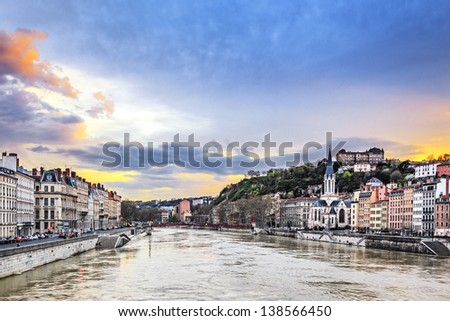 Saone river in Lyon city at sunset,  France - stock photo