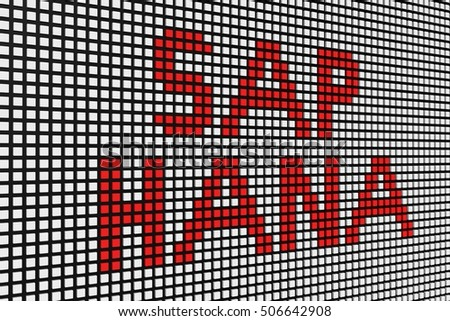 SAP HANA in the form of scoreboard 3D illustration