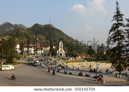 SAPA, LAO CAI, VIETNAM - The Catholic Holy Rosary church and main square in Sapa, Lao Cai, Vietnam. Sapa is town at Hoang Lien Son Mountains of northwest Vietnam