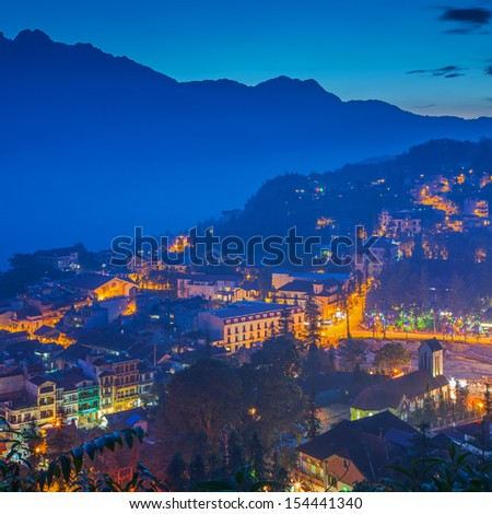 Sapa valley city at dusk ,Lao Cai, Vietnam