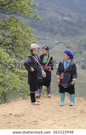 Sapa, Vietnam - 10 April 2015. Hmong women in the remote north area in Vietnam. Tribal people live on the hills with their own traditional culture and clothes