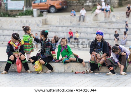 Sapa VIetnam June 9 2016 H'mong ethnic minority children on streets in Sapa, Vietnam. H'mong is the 8th largest ethnic group in Vietnam.