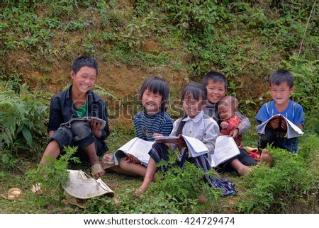 SAPA, VIETNAM, May 19, 2016 Hmong children group, highland Sa Pa, Vietnam, outdoor revise
