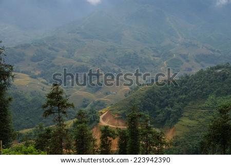Sapa, Vietnam. Mountain road. - stock photo