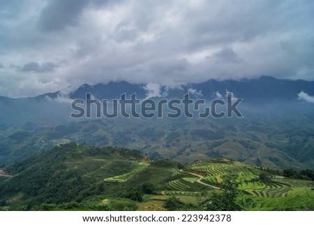 Sapa, Vietnam. Rice fields and green mountains. - stock photo
