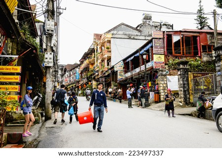SAPA, VIETNAM - SEP 20, 2014: Architecture of Sapa, Lao Cai, Vietnam. Sapa is a frontier town and capital of Sapa District