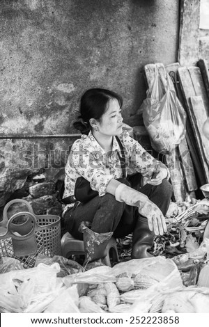 SAPA, VIETNAM - SEP 20, 2014: Unidentified Vietnamese woman works at the market . 90% of Vietnamese people belong to the Viet ethnic group