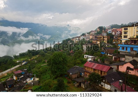 Sapa with clouds and mist, lao cai, vietnam landscapes - stock photo