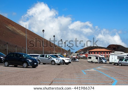 SAPIENZA, ITALY - MAY 16 2016: Parking lot under volcano Etna on the Mount Etna