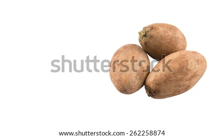 Sapodilla or Ciku fruit over white background