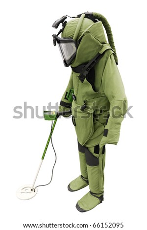 Sapper suit isolated on white - stock photo