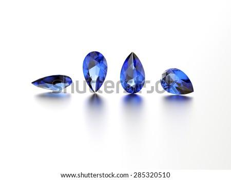 Sapphire. Pear shape gemstone on  white. Jewelry background - stock photo