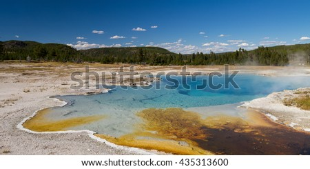 Sapphire Pool at Biscuit Basin, Yellowstone National Park, Wyoming, USA - stock photo