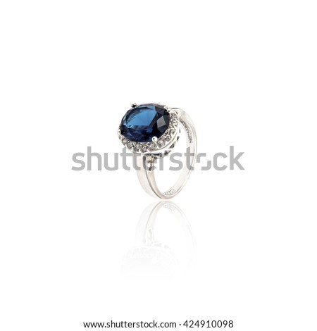 Sapphire Ring isolated on white. - stock photo
