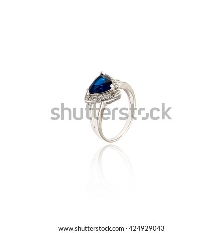 Sapphire Ring isolated on white.