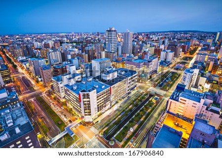 Sapporo, Japan cityscape in the central ward. - stock photo