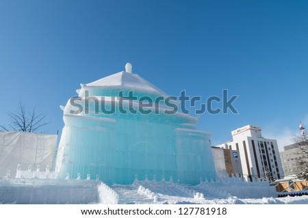 SAPPORO, JAPAN - FEB. 5 : Ice sculpture of Chiang Kai-shek Memorial Hall at Sapporo Snow Festival on February 5, 2013 in Sapporo, Hokkaido, japan. The Festival is held annually at Sapporo Odori Park. - stock photo
