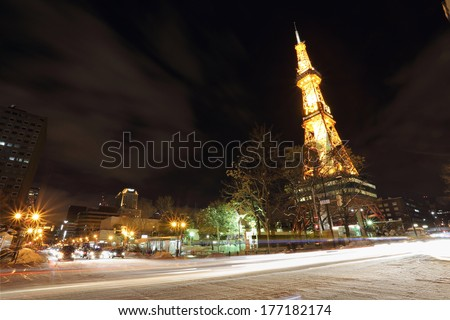 Sapporo, Japan - FEBRUARY 11 : Night view of Sapporo TV Tower on February 11, 2014 in Sapporo,Japan,Japan.This tower is located on Odori Park in the heart of Sapporo. - stock photo