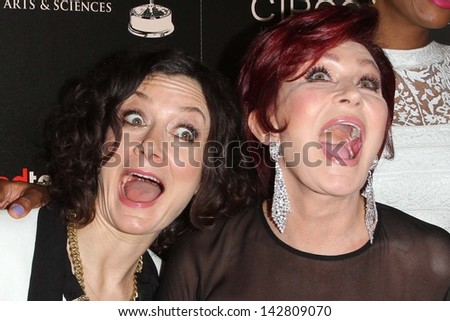Sara Gilbert, Sharon Osbourne at the 40th Annual Daytime Emmy Awards, Beverly Hilton Hotel, Beverly Hills, CA 06-16-13 - stock photo