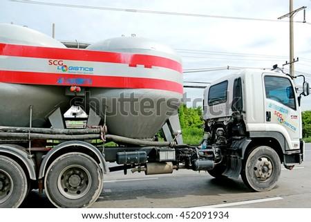 SARABURI-THAILAND-AUGUST 4 : The cement truck on the road, August 4, 2015 Saraburi Province, Thailand. - stock photo