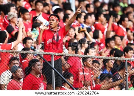 SARABURI THAILAND- JULY18:Unidentified fans of Saraburi Fc supporters during Thai Premier League between Saraburi Fc and Buriram United at Saraburi Stadium on July18,2015 in Saraburi Thailand - stock photo